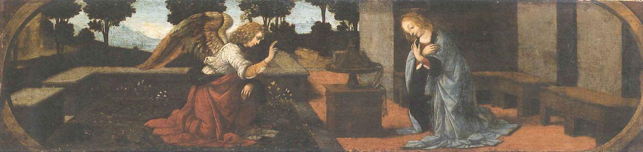 Lorenzo di Credi su disegno di Leonardo, Annunciazione. Louvre, Parigi. Il volto di Maria è chiaramente derivato dal sovrastante disegno di Leonardo