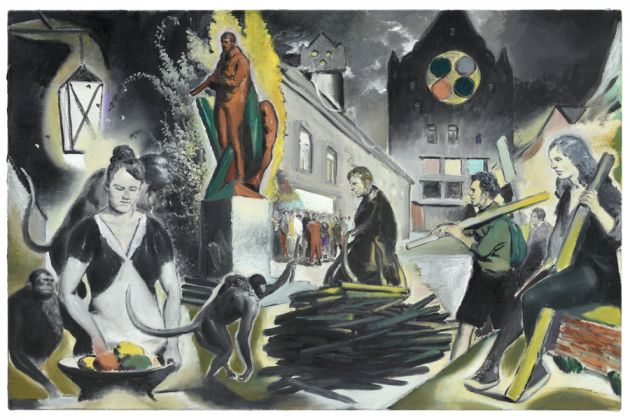 Neo Rauch, Die Meute, 2018, olio su lino / oil on linen, cm 65x100 Photo: Uwe Walter, Berlin © Neo Rauch, VG Bild-Kunst, Bonn Courtesy Galerie EIGEN+ART, Leipzig / Berlin David Zwirner, New York / London / Hong Kong