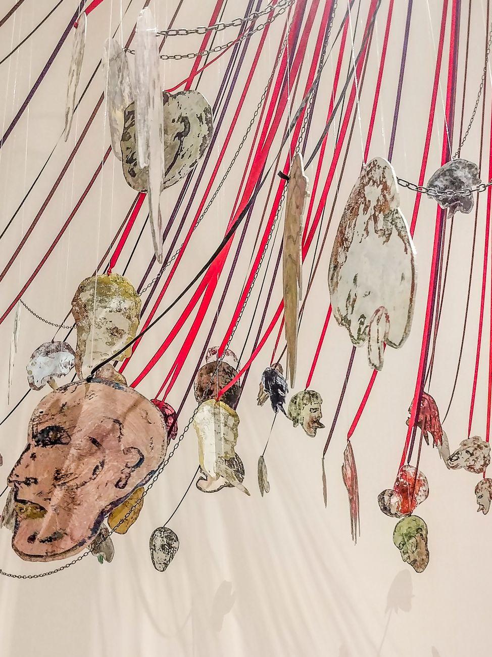 Nancy Spero, Maypole. Take No Prisoners, 2007, particolare. Installation view at MoMA PS1, New York 2019. Photo Maurita Cardone