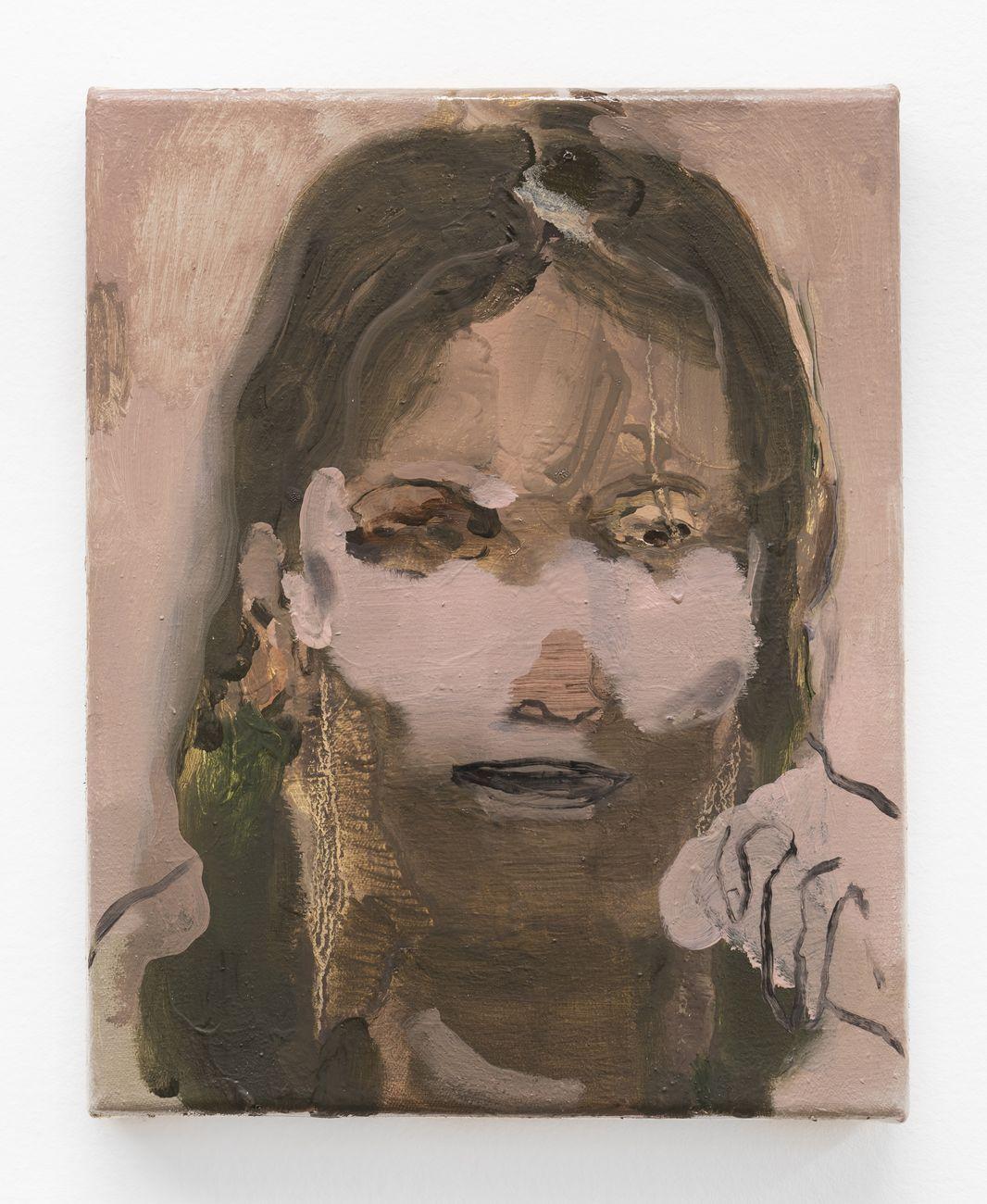 Nazzarena Poli Maramotti, Ritratto (Maske), 2019, tecnica mista su tela, 25x20 cm. Photo credit Masiar Pasquali