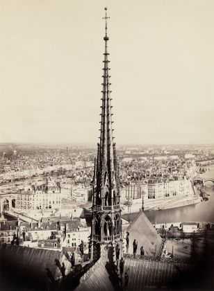 Charles François Bossu, Notre Dame de Paris, France. View of_spire, roof with statuary and cityscape beyond via Wikipedia