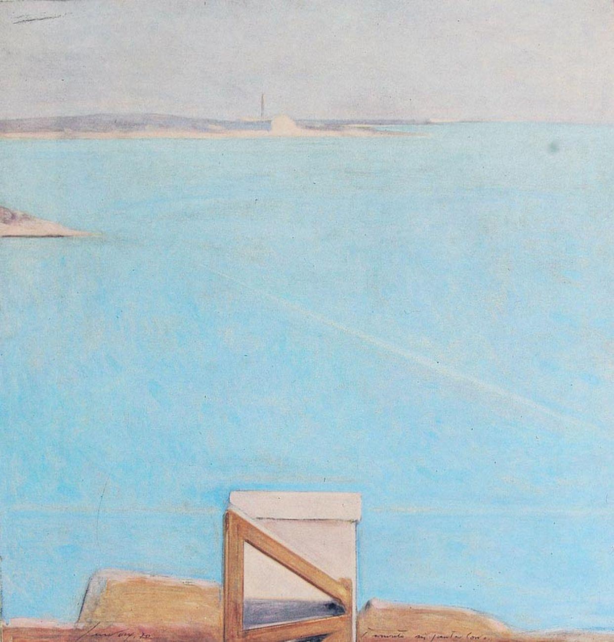 Piero Guccione, Tramonto a Punta Corvo, 1970, olio su tela