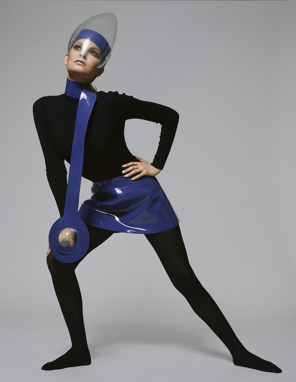 featuring a miniskirt and necklace in blue vinyl, worn with a Plexiglas visor, 1970. Image courtesy of Iconic Images. © Terry O'Neill / Iconic Images