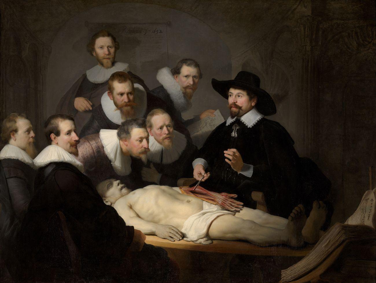 Rembrandt, Lezione di anatomia del dottor Tulp, 1632, olio su tela, 169,5×216,5 cm. Mauritshuis, L'Aia