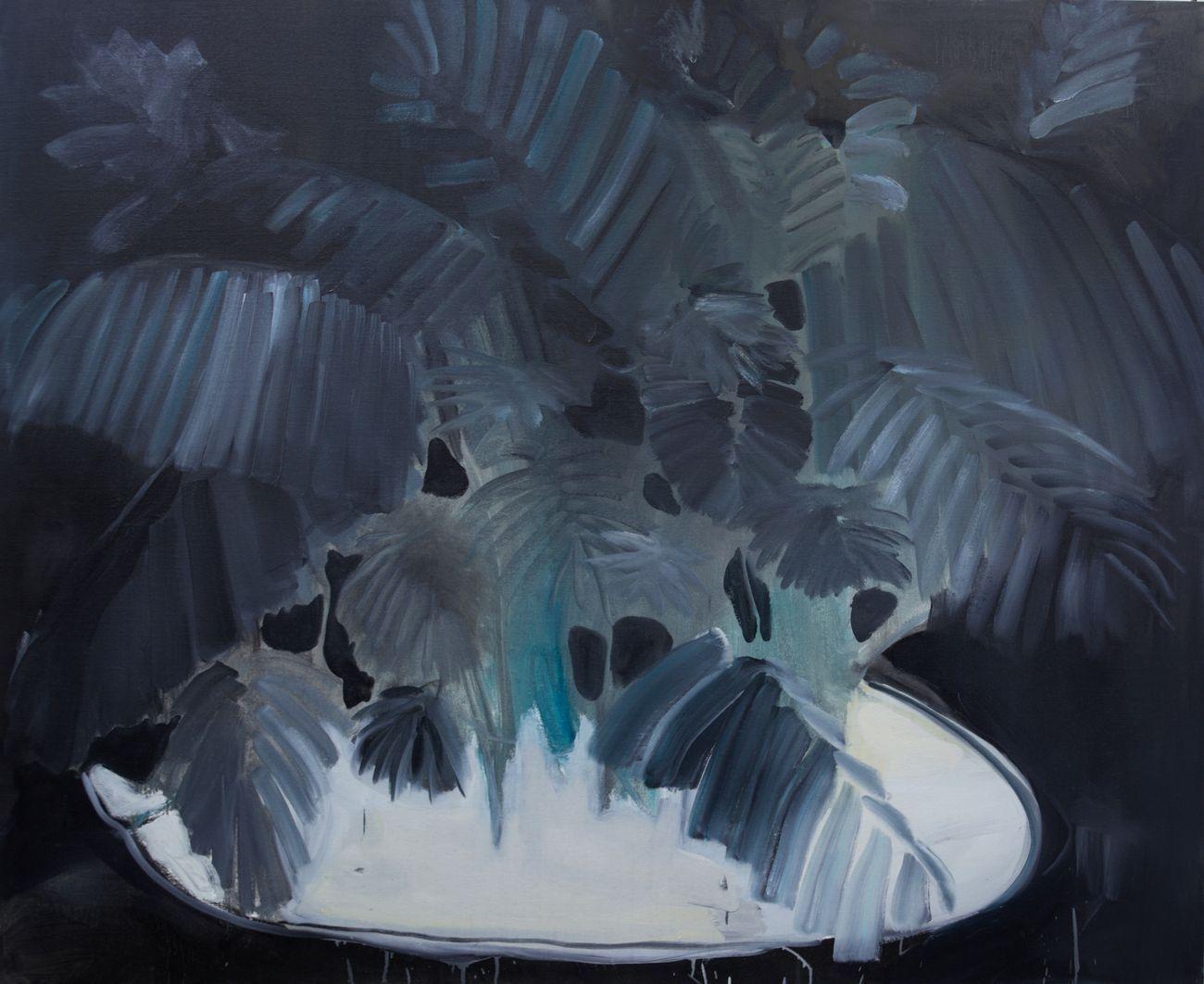 Rudy Cremonini, Kenzia con base bianca (notturna), 2018, oil on juta, 160x200 cm