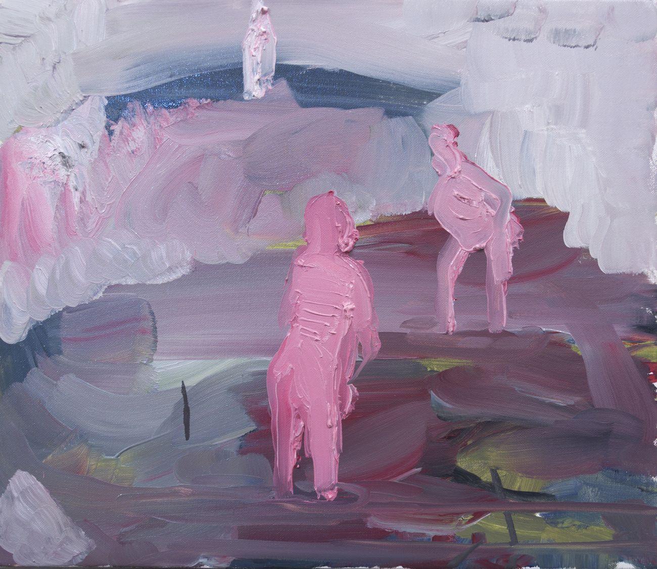 Rudy Cremonini, Le piccole bagnanti, 2018, oil on linen, 30x35 cm