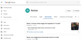 Screenshot da Google News del 4 aprile 2019