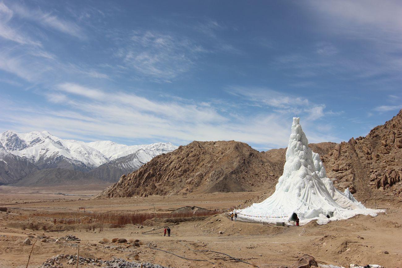 Students' Educational and Cultural Movement of Ladakh, SECMOL (Sonam Wangchuk), Ice Stupa, 2013-14. Photo © Lobzang Dadul. Courtesy SECMOL