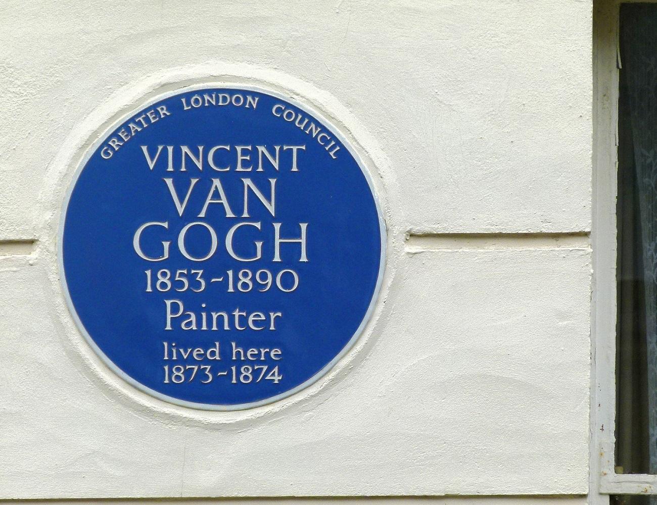 Targa commemorativa sulla facciata della casa di van Gogh a Londra
