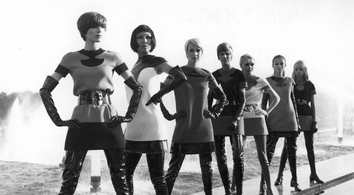 Two-tone jersey dresses, with vinyl waders, 1969. Photo by Yoshi Takata. © Pierre Pelegry