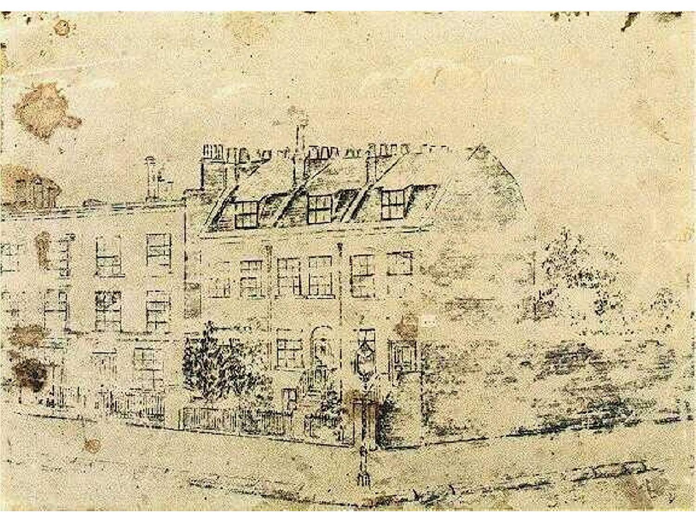 Un disegno di van Gogh raffigurante la sua casa di Londra a Hackford Road, databile tra il 1873 e il 1874
