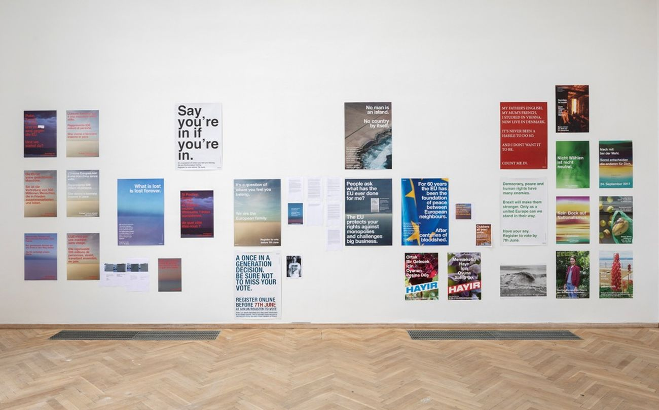 Wolfgang Tillmans, Various political campaign posters, 2016-19. Installation view, Europa Endlos, Kunsthal Charlottenborg, 2019. Courtesy Between Bridges. Photo Anders Sune Berg