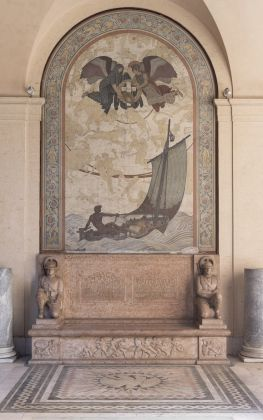 Eric Gugler, Barry Faulkner (1910 Fellow), and Paul Manship (1912 Fellow) The Thrasher-Ward Memorial, dedicated 1925 Fresco, breccia marble West arcade, Cortile, McKim, Mead & White Building, American Academy in Rome Image credit: Photograph by Giorgio Benni