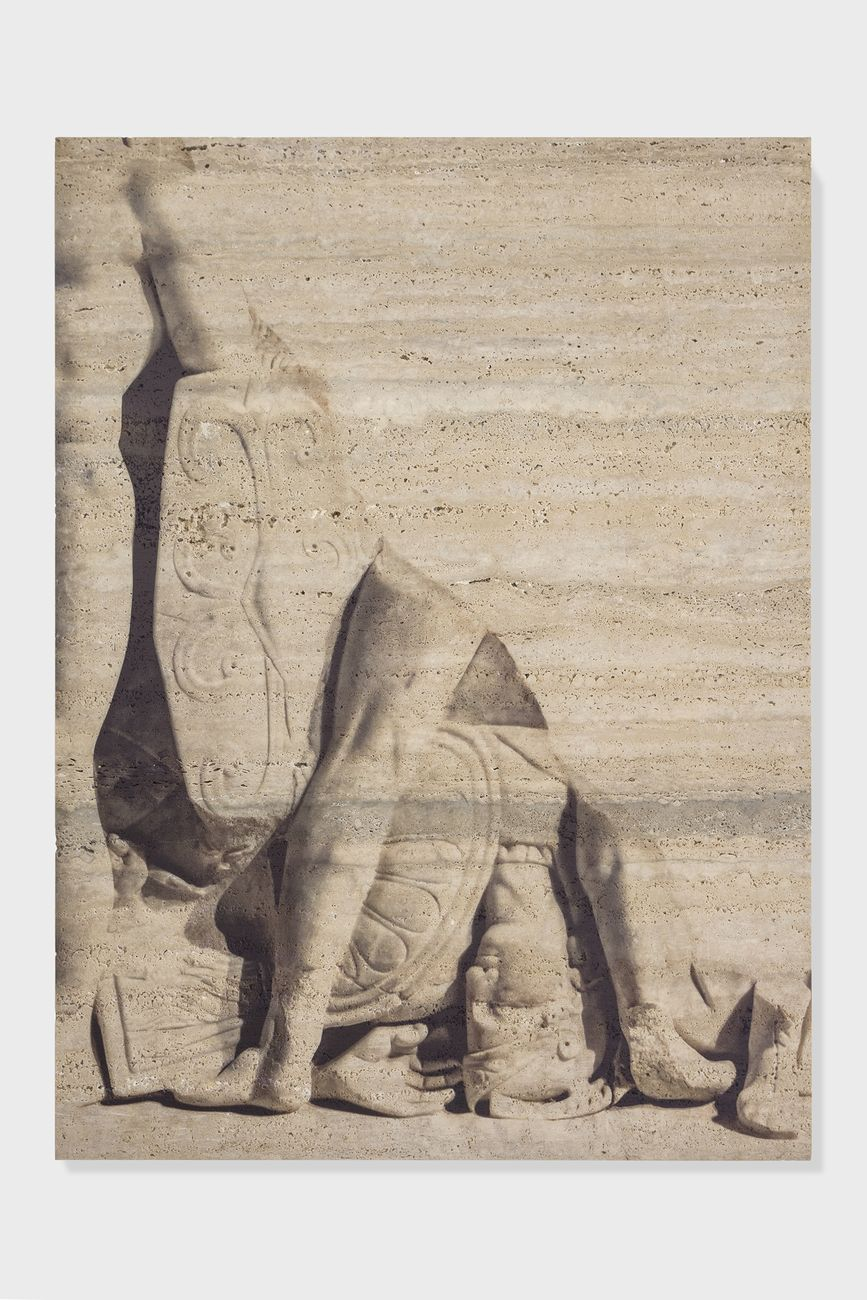 Elisa Sighicelli, Untitled (6928), 2018, 92 x 68 x 4 cm, stampa UV su travertino