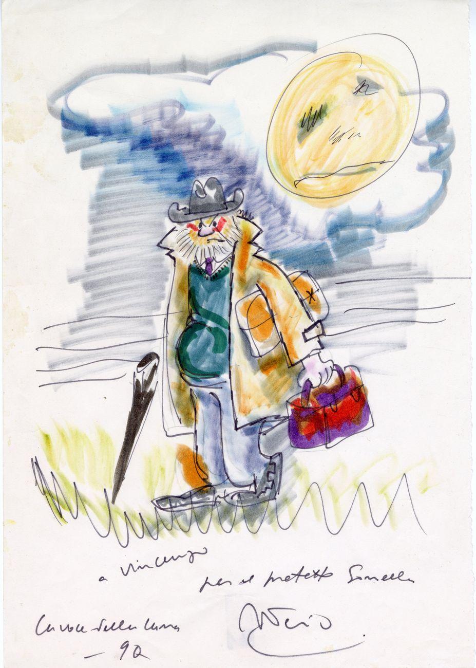 Federico Fellini, Paolo Villaggio in La voce della luna, 1990. Collezione Vincenzo Mollica