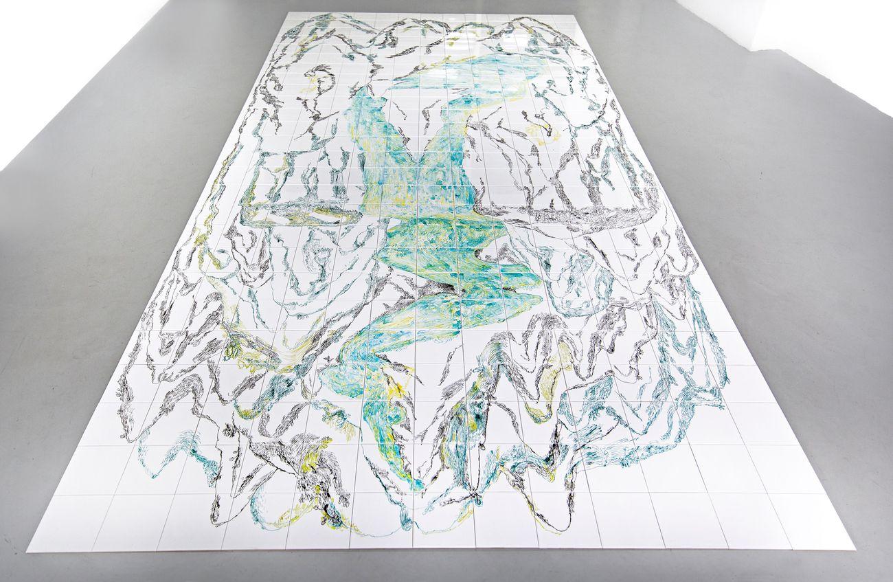 Giusy Pirrotta, Mappa, 338 piastrelle di ceramica smaltata, colori acrilici per ceramica, 2019