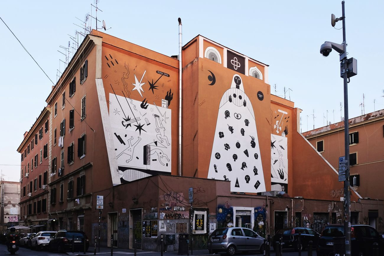Guerrilla Spam, Murales contro le guerre, Roma, 2018. Photo Rita Restifo