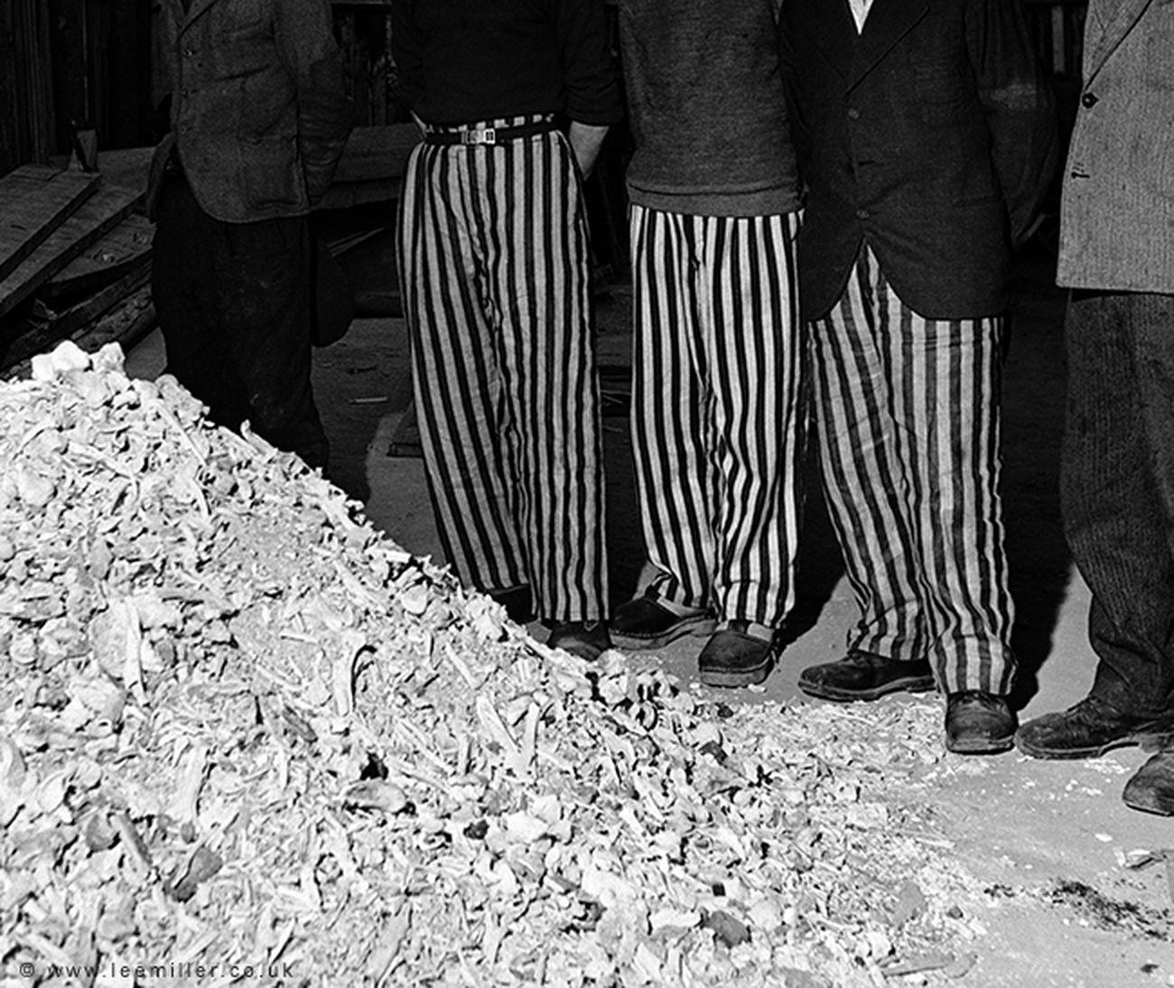 Lee Miller, Released prisoners in striped prison dress © Lee Miller Archives England 2018. All Rights Reserved. www.leemiller.co.uk