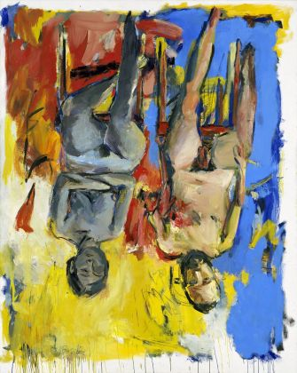 Georg Baselitz, Schlafzimmer (Bedroom), 1975, oil and charcoal on canvas, 98 1/2 x 78 3/4 in 250 x 200 cm Georg Baselitz Treuhandstiftung