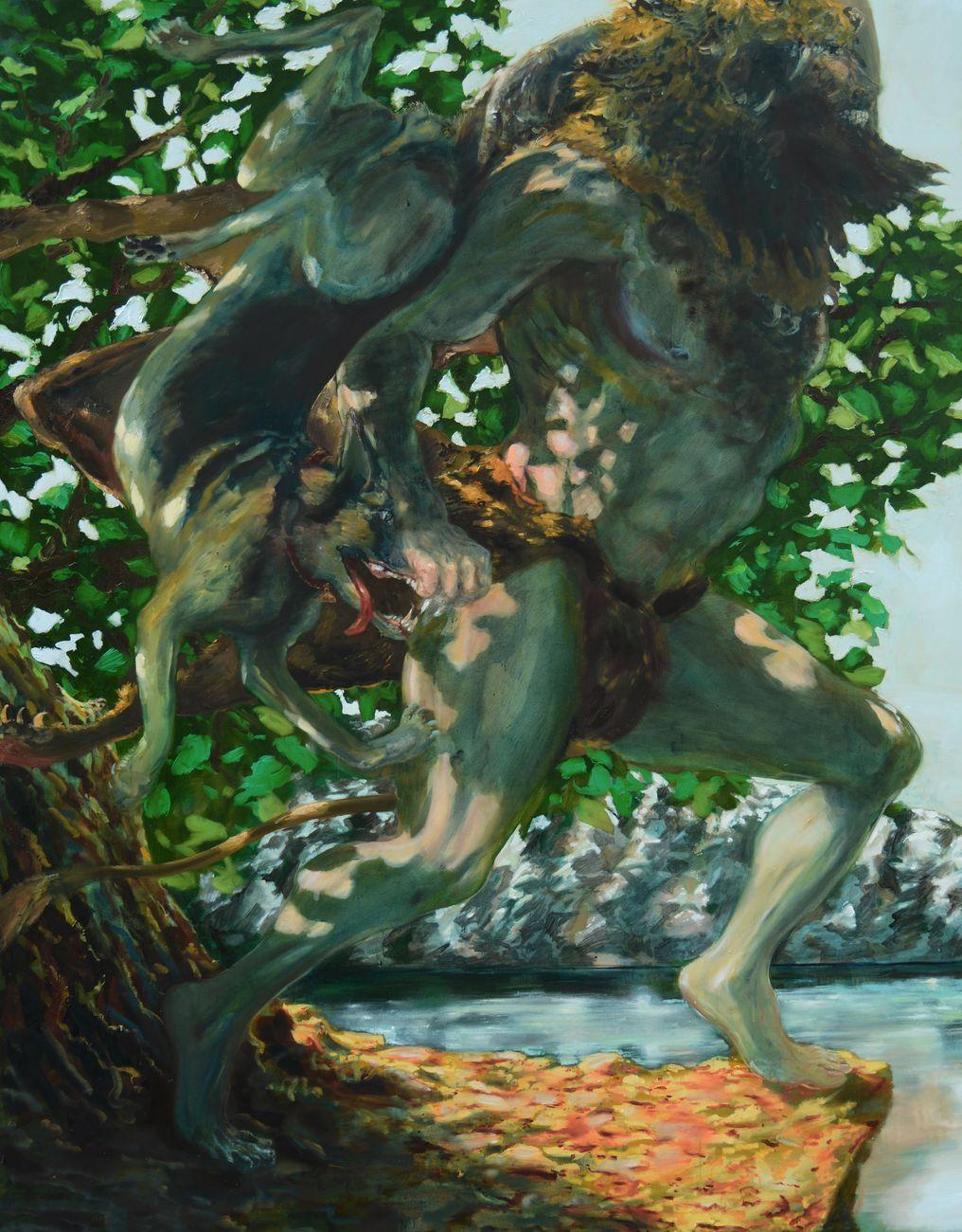 Thomas Braida, Hercules e il pastore tedesco, 2015, cm 251x201, olio su tela