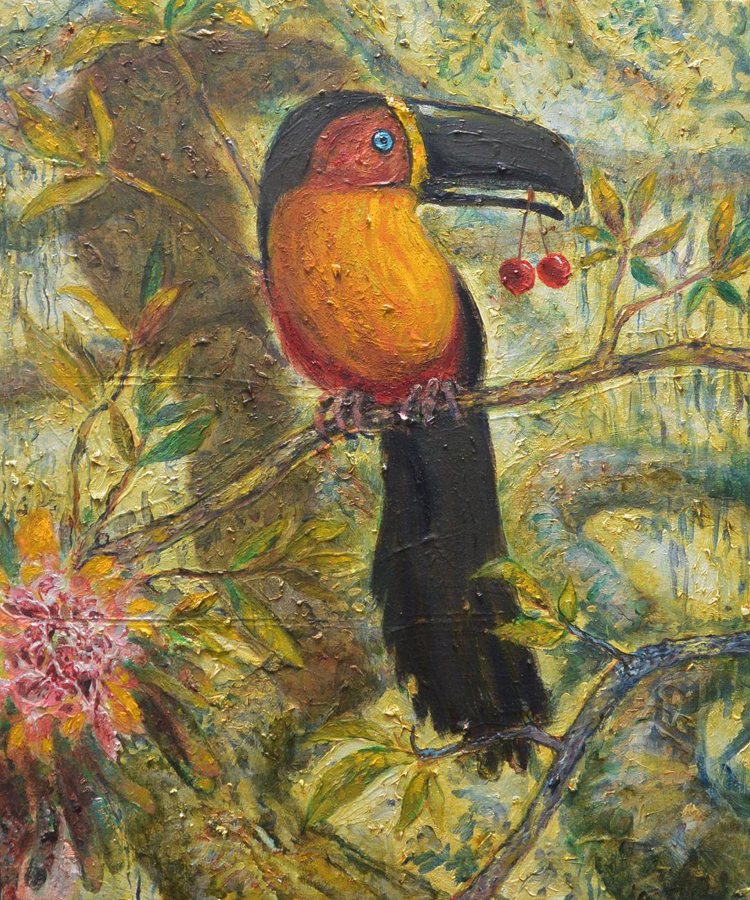 Thomas Braida, Il pappagallo e le ciliege, 2014, cm 60x50, olio su tela