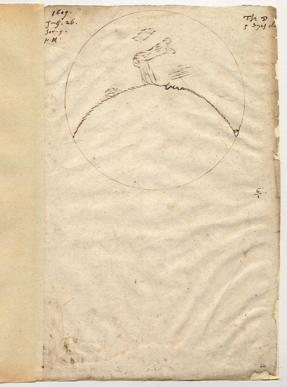 Thomas Harriot, La Lune observée à la lunette, 26 juillet 1609. Chichester, West Sussex Record Office © West Sussex Record Office