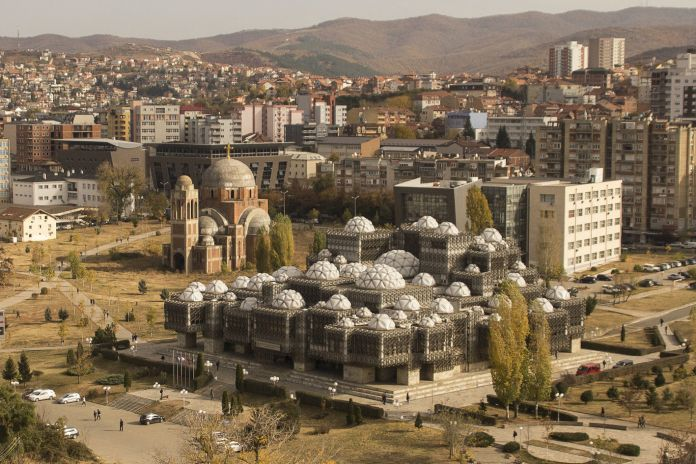The National Library of Kosovo in Pristina. Photo by Ferdi Limani. Courtesy of Manifesta