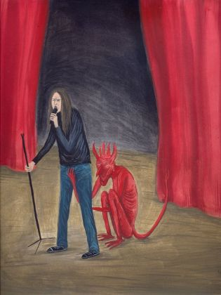 Agnese Guido, He sings as if the devil were squeezing his balls, 2018, tempera su carta, 31x24 cm