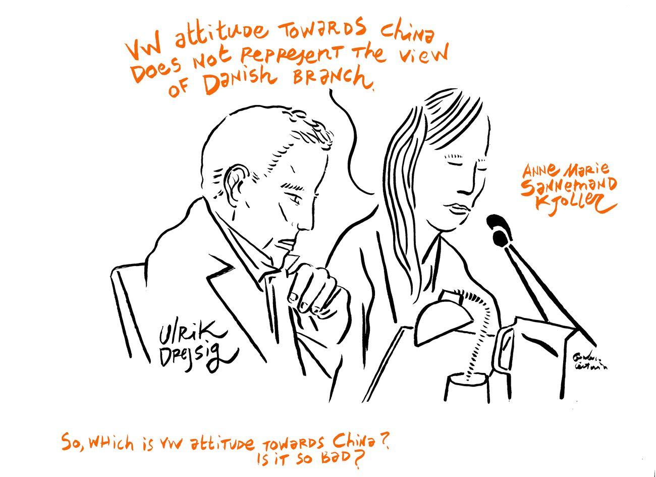 Ai Weiwei contro la Skandinavisk Motor Co. A/S. Ulrik Drejsig e Anne Marie Sannemand Kjøller. Disegno di Gianluca Costantini