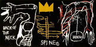 Jean-Michel Basquiat, Back ofthe Neck, 1983 Screenprint with hand-coloring on paper, 127.6 x 259.1 cm Edition 1/24 Brooklyn Museum, Charles Stewart Smith Memorial Fund O Estate of Jean-Michel Basquiat. Licensed by Artestar, New York