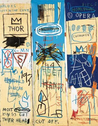 Jean-Michel Basquiat Charles the First, 1982 Acrylic and oil stick on canvas, three panels, 198.1 x 165.1 cm Estate of Jean-Michel Basquiat O Estate of Jean-Michel Basquiat. Licensed by Artestar, New York