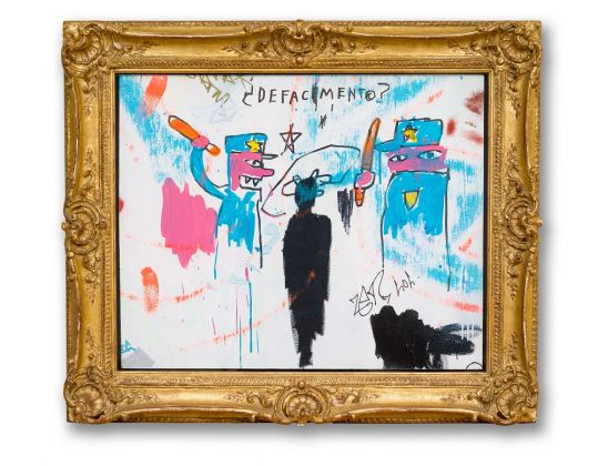 Jean-Michel Basquiat The Death of Michael Stewart, 1983 Acrylic and marker on sheet rock, 34 x 40 inches, framed (86.4 x 101.6 cm) Collection of Nina Clemente, New York © Estate of Jean-Michel Basquiat. Licensed by Artestar, New York Photo: Allison Chipak © Solomon R. Guggenheim Foundation, 2018