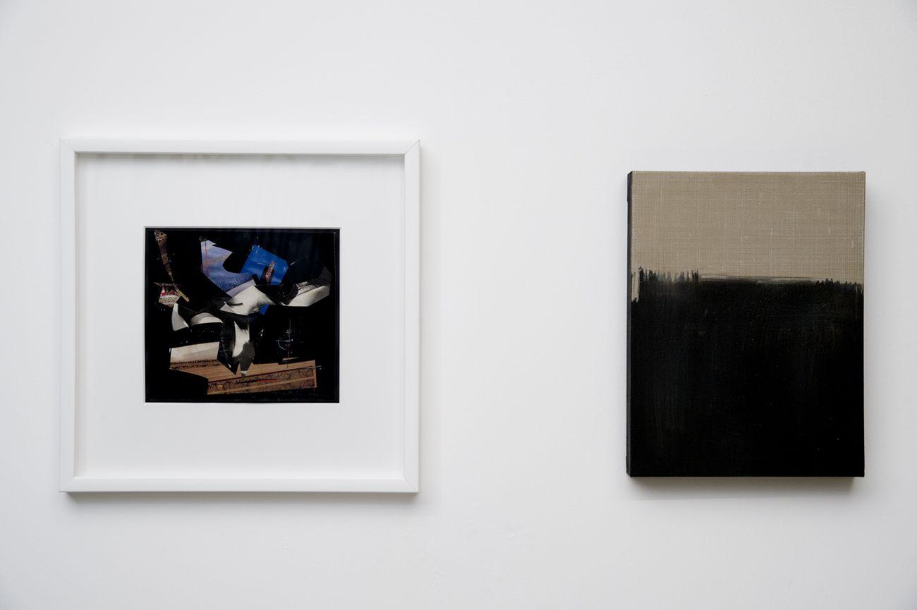 Da sx, Giuliano Vanni, Senza titolo, 1993 _ Eugenia Vanni, La pittura intorno. Lino su imprimitura nera, 2019. Courtesy l'artista & Galleria Fuoricampo. Photo Andrea Lensini