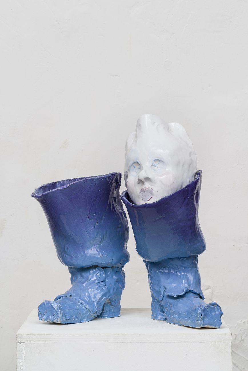 Emiliano Maggi, Blue Boot Hose, 2019, glazed ceramic, 52,5x50x36,5 cm. Courtesy Operativa Arte & the artist