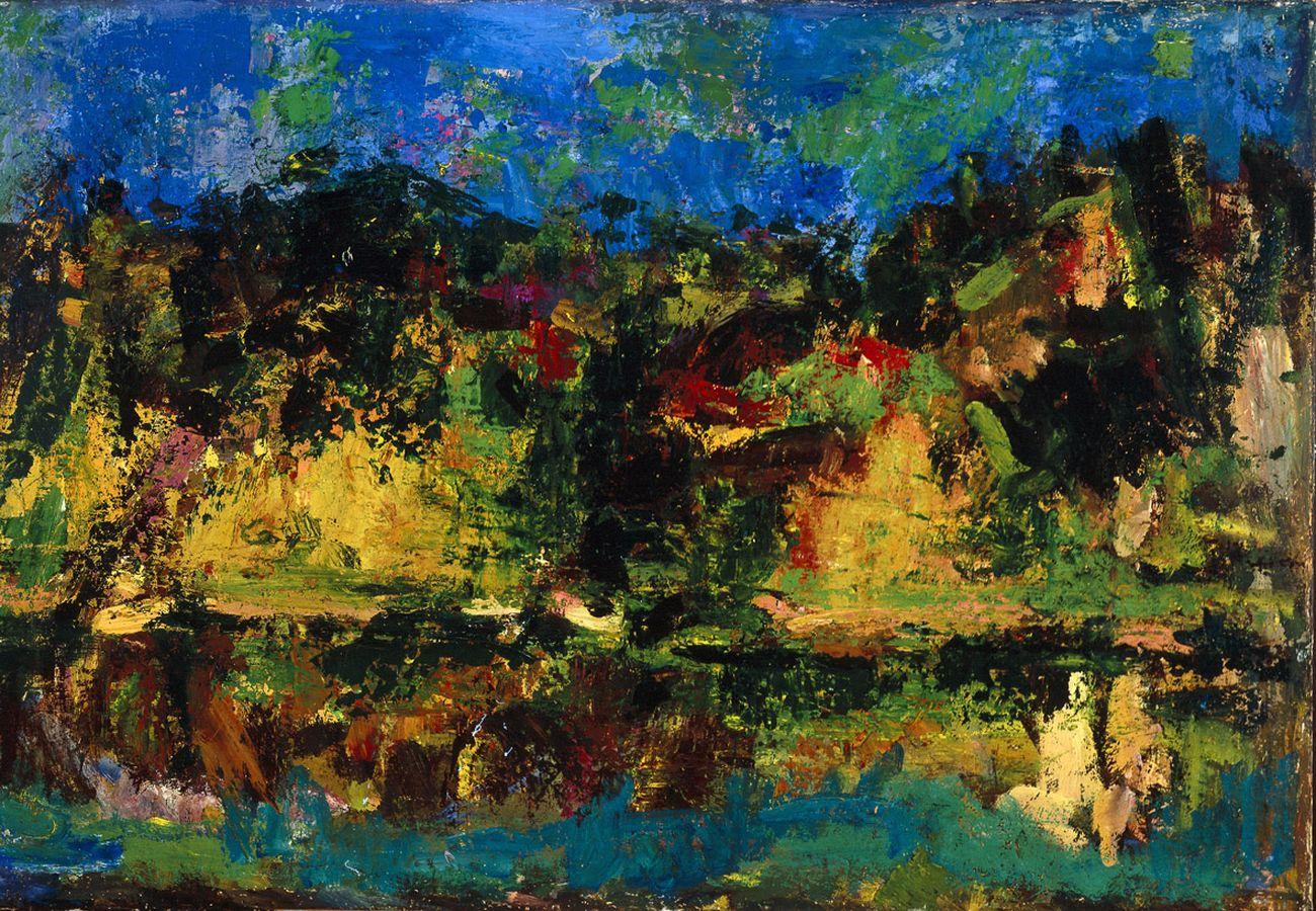 Ennio Morlotti, Paesaggio sul fiume (Adda), 1955. Collezione Barilla, Parma