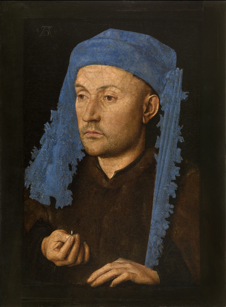 Jan van Eyck, Portrait of a Man with a Blue Chaperon, c. 1428−1430, Muzeul National Brukenthal, Sibiu (Romania)