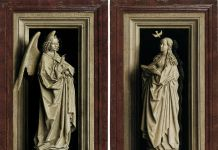 Jan van Eyck, The Annunciation Diptych, c. 1433 1435, Museo Nacional Thyssen Bornemisza, Madrid