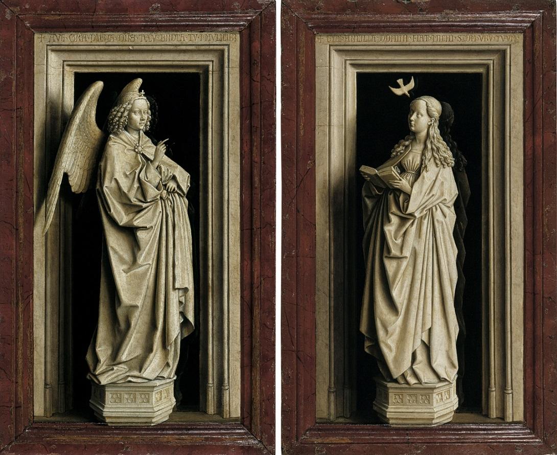 Jan van Eyck, The Annunciation Diptych, c. 1433 1435, Museo Nacional Thyssen Bornemisza, Madrid