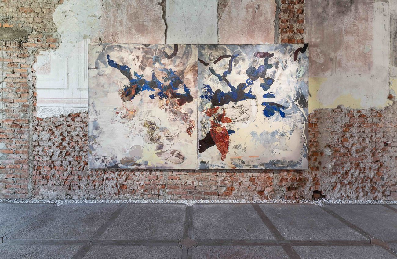 Marta Spagnoli, Blu Sinapsi, 2019, installation view at Bagni Misteriosi, Milano 2019. Photo Melania Dalle Grave e Agnese Bedini