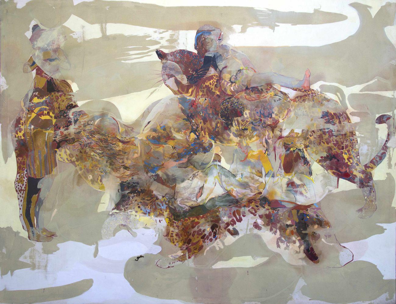 Marta Spagnoli, Fiera dei sensi, 2018, acrilico e olio su tela, 200x250 cm. Courtesy l'artista