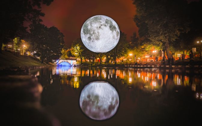 Museum of the Moon by Luke Jerram. White Night Riga, Lativia, 2017. Photo (c) Robert Sils