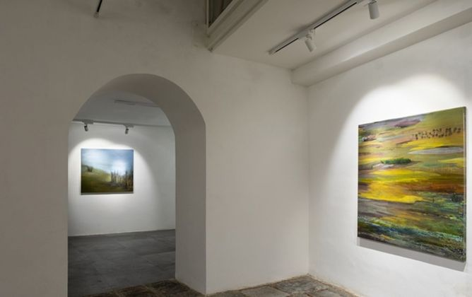 Mutaz Mohamed Elemam. Dream Scape from River. Installation view at Shazar Gallery, Napoli 2019. Photo Danilo Donzelli