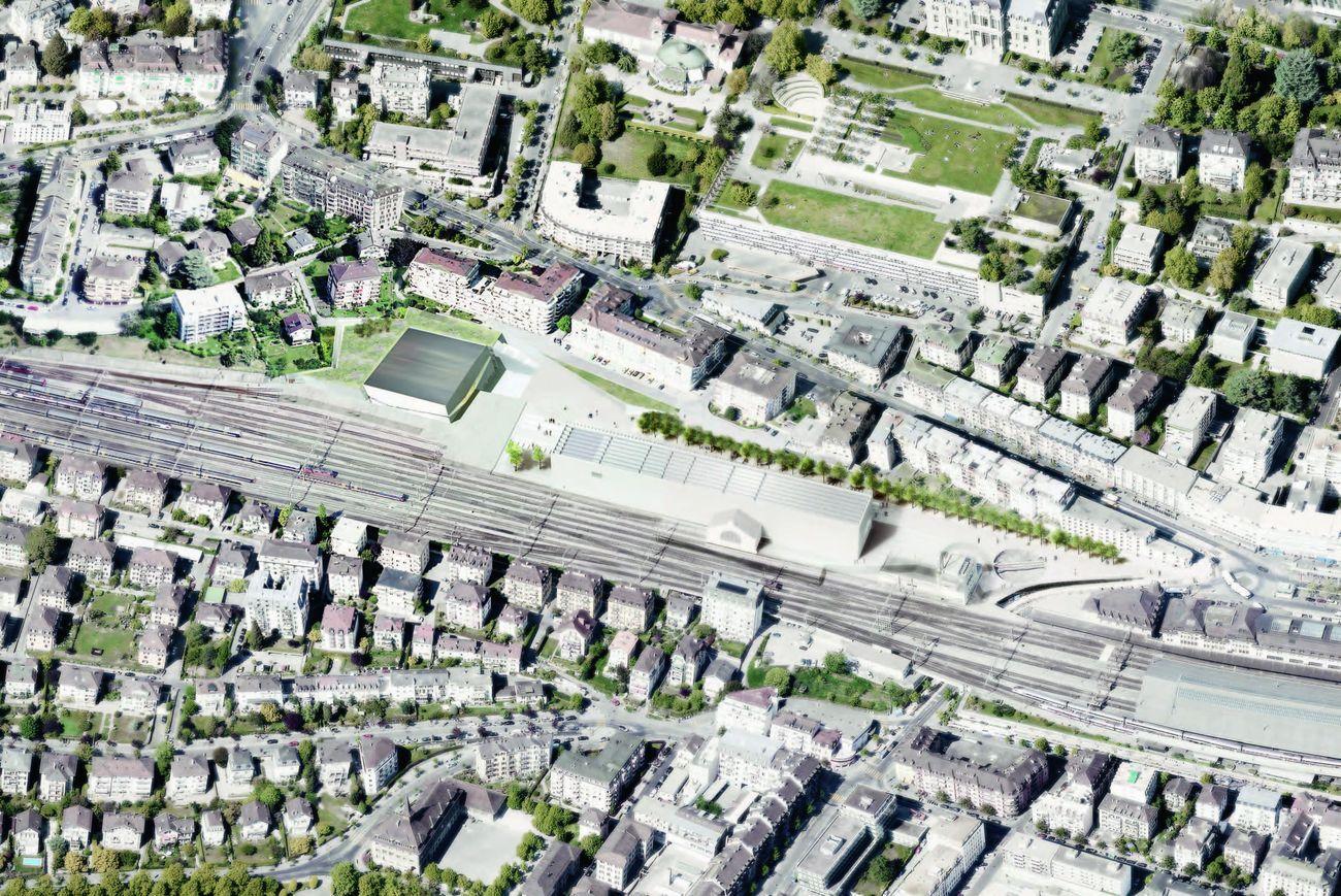 Veduta aerea del quartiere Plateforme 10, Losanna © Aires Mateus