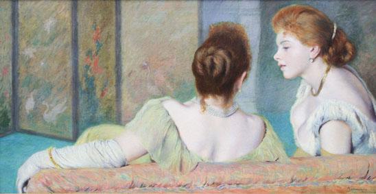 Federico Zandomeneghi Sul divano Olio su tela, 44x87 cm Collezione privata, Italia