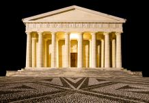 Temple of Canova night view. Roman columns
