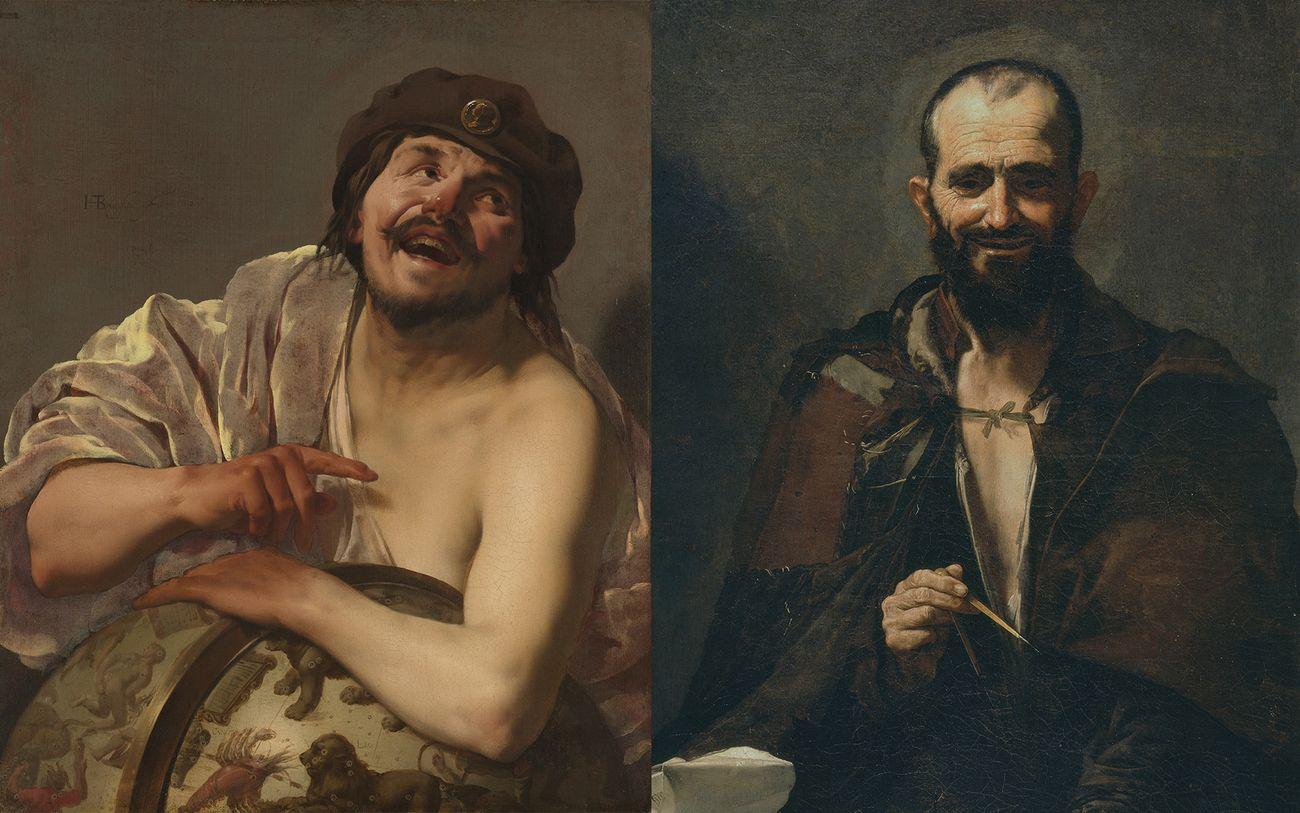 A sx, Hendrick ter Brugghen, Democrito, 1628, Amsterdam, Rijksmuseum. A dx, José de Ribera, Democrito, 1630, Madrid, Museo Nacional del Prado