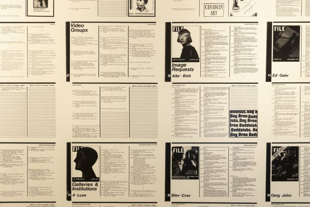 Annual Artists' Directory and Image Bank Image Request Lists FILE Magazine, Vol. 2. No. 5, 1974. Installation view at KW Institute for Contemporary Art, Berlino 2019. Photo Frank