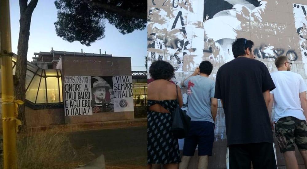 Affissioni abusive di Casapound sui muri della stazione di Ostia Lido Nord, poi rimossi dai volontari dell'ANPI. Ph. RomaToday