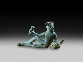 Bronze reclining satyr from the rim of a vessel500–400 BCPossibly from Chiusi, Tuscany (c) Ashmolean Museum, University of Oxford