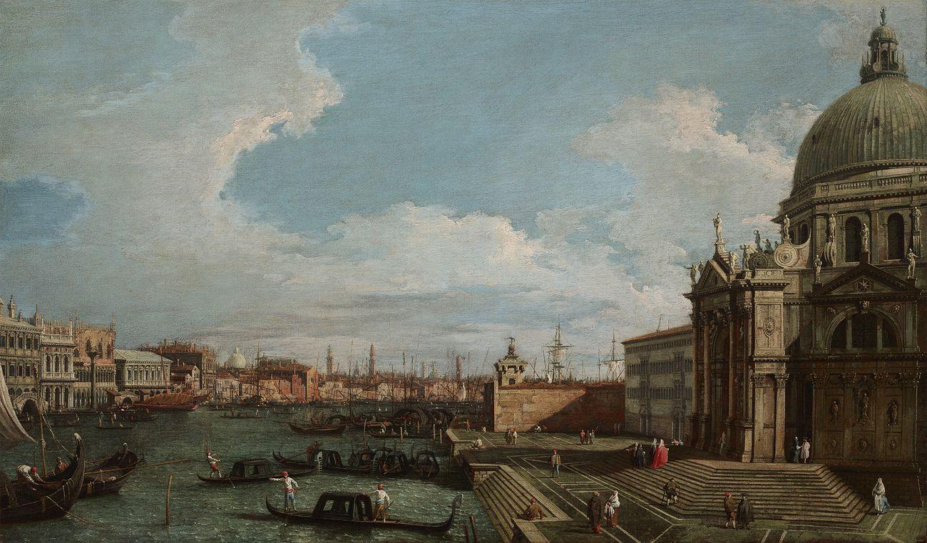Canaletto (Giovanni Antonio Canal), Il Canal Grande verso il bacino di San Marco e la chiesa della Salute, 1745 1750, olio su tela, 46 x 78,5 cm. Collezione Intesa Sanpaolo